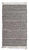 Fransenteppich Wohnzimmerteppich Handwebteppich IKAT 1 | 80x150 cm | Grau | Baumwolle