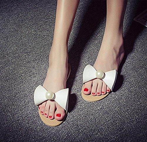 occasionnels sandales d'été fleurs Mme pantoufles cool tendon de la femme à la fin White