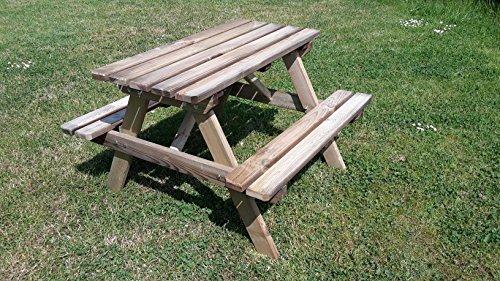 Picknicktisch Kinder Holz Kindertisch Kindersitzgruppe 4 Sitzer Gartenbank Tisch