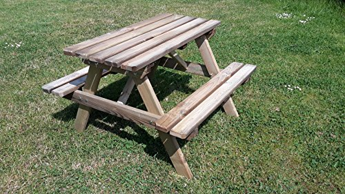 naturholz-shop Picknicktisch Kinder Holz Kindertisch Kindersitzgruppe 4 Sitzer Gartenbank Tisch