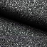Brittschens Stoffe und Zutaten Stoff French Terry Sweat angerauht | Glitzer in Verschiedenen Farben | Meterware | Stoff zum nähen (schwarz Silber Glitzer)