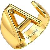 GoldChic Jewelry Anelli Con Lettera Per Donna, Anello Regolabile Con Iniziale In Oro Con Zirconi, Gioielli Con Alfabeto In Or