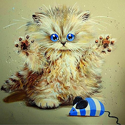 wuayi Blue Eyed Cat 5D Diamant, Clearance 5D Diamant Gemälde Set Home Decor Kristall Diamant Stickerei Bilder DIY Malerei Kits für Erwachsene - Die Die Blue Engel Haben Box