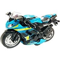 Amisha Gift Gallery Die-cast Metal Rubber Tyre Pull Back Racing Bike - 5 inch (Multi Color) (Metal R1 Bike) (Blue)