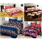 Four Double Size Bedsheet With 8 Pillow Covers-Home Furnishing Floral 3-D Print 4 Double Bedsheet With 8 Pillow Covers - Multicolor(SH_4D03)