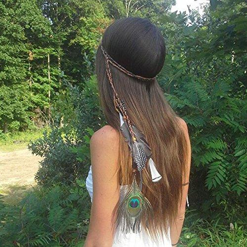 Yean Kopf Kette Kopf Kleid indischen Stil Feder für Frauen und (Ein Wird Traum Wahr Kostüme)