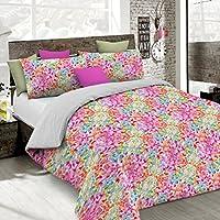 Italian Bed Linen Fantasy Parure de Couette, Microfibre, Multicolore, 1Place