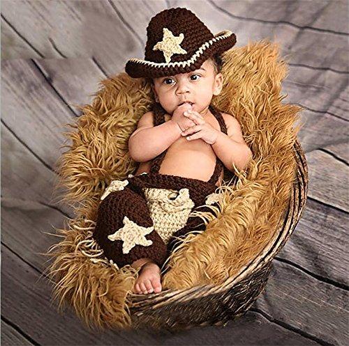 PEPEL Baby-Bekleidung Babyfoto stricken Garne Cartoon Cowboy (Hüte Cartoon Cowboy)