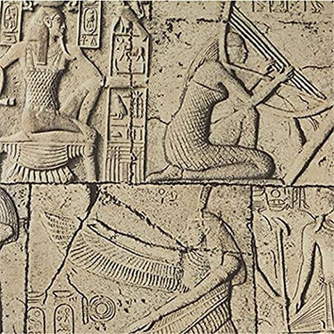 Wapea Geprägte Wallpaper 3D Ägypten antike Wandmalereien der klassischen Skulptur Vintage PVC Vinyl Wandverkleidung Wasserdicht