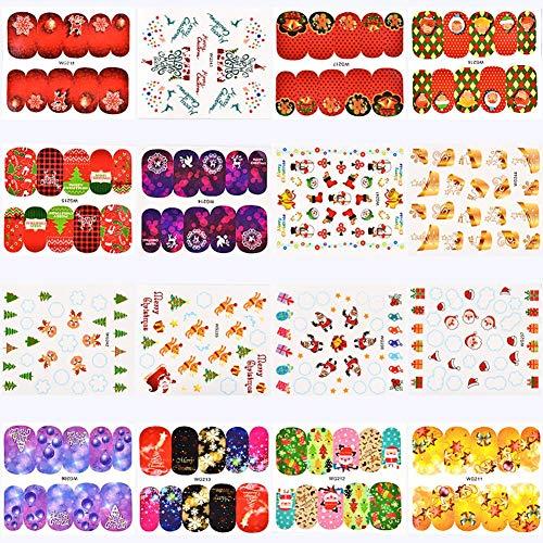 Nagel Transfer Aufkleber 3D Weihnachten Filigran Sticker Schneeflocke Qualität Wasserrutsche Weihnachten Aufkleber (45 PCS)