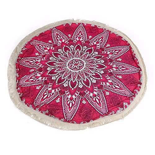 Aiserkly 2019 - Tapiz de Playa con borlas para Exteriores, diseño de Mandala, poliéster, Rosa, Tamaño Libre