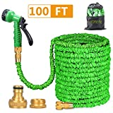 Homeme 100FT Expandable Flexible Garden Hose Solid Brass Hose Fittings & Spray Gun-Green