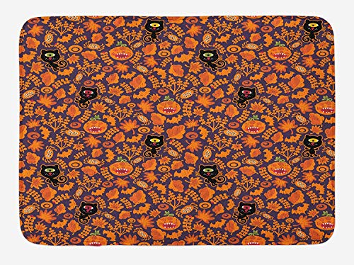 ASKYE Vintage Halloween Bath Mat, Halloween Themed Elements on a Purple Background Scary Mosters, Plush Bathroom Decor Mat with Non Slip Backing, 23.6 W X 15.7 W Inches, Dark Purple Orange (Halloween Mad Pizza)