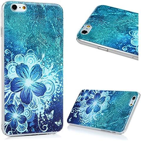 iPhone 6 Plus/6S Plus Funda - Lanveni Carcasa Rigida PC ultra Slim para iPhone 6 Plus/6S Plus 5.5 pulgadas Transparente Protective Case - Patrón Cinco Hojas y Flores