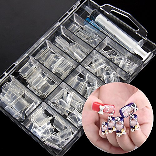 3d-manicure-nails-art-french-acrylic-aquarium-liquid-clear-fake-nail-tips-100-pcs-set-with-injector