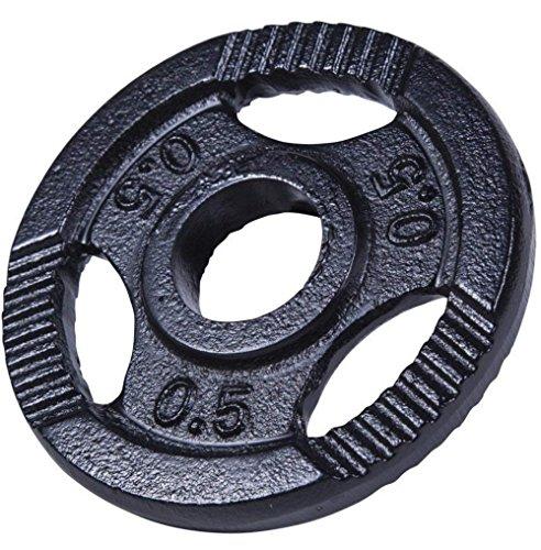 GORILLA SPORTS® Hantelscheiben Einzeln/Set Gusseisen Gripper - 0,5-20 kg Gewichte mit 30/31 mm Bohrung Schwarz/Silber/Gold (Schwarz, 20 KG) -