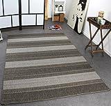 PHC Tappeto Modern Tessuto Liscio Rigato Designer Tappeto Sisal Tonalità Grigio, Dimensione:80x200 cm