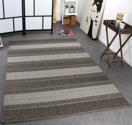 Paco Home In- & Outdoor Teppich Modern Flachgewebe Gestreift Sisal Optik Grau Töne, Grösse:80x150 cm