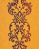 Papel pintado barroco EDEM 178-21 moderno con patrón oriental de damasco y efecto perla en amarillo naranja y marrón