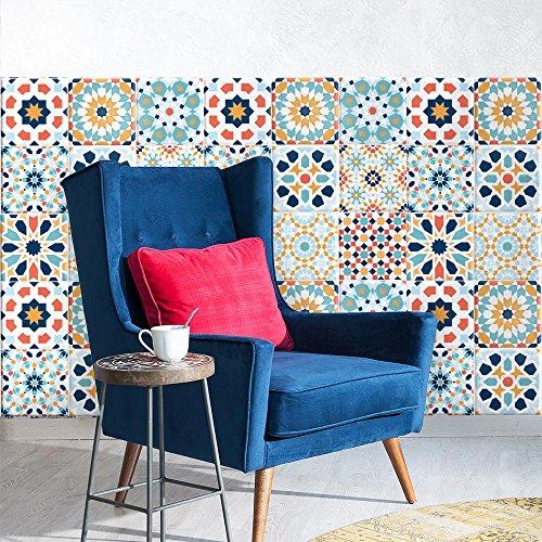 25 Adhesivo para azulejos 20x20 cm - PS00087 - Riyad - Adhesivo decorativo para azulejos para baño y cocina - Stickers azulejos - Collage de azulejos