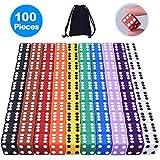 Austor 100 pezzi gioco dadi, 10 colori square angolo a dadi con libera la borsa, giocare come tenzi, farkle, tombola, truffe o insegnare matematica