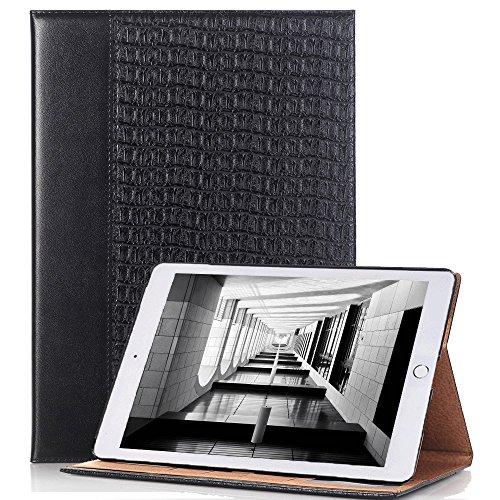 IPad Pro 12.9 Coque 2017 Ultra Fine PU Cuir Noir, elecfan IPad Pro 12.9 2017 pour Tablette Case StyleD'affaires Cover Etui Housse Serpent Peau Modèle de Protection avec Rabat/Stand de Positionnement