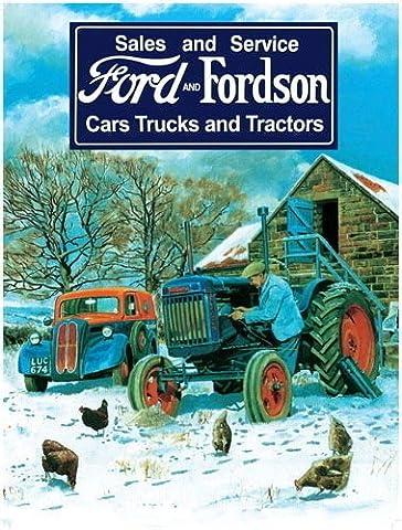 Ford & Fordson Vintage Sales et Service Ancienne Voiture & tracteur. Sur le ferme en hiver, bleu tracteur et mécanicien. Métal/Panneau Mural Métalique - 20 x 30 cm