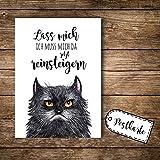 ilka parey wandtattoo-welt® A6 Postkarte Ansichtskarte Flyer grimmige Katze GRUMPY mit Spruch lass mich... pk099