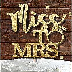 """""""Miss To Mrs""""-Tortenaufsatz in Gold und Glitzer, für Hochzeits- und Verlobungspartys, Brautparty, Torten-Deko, Cupcake"""