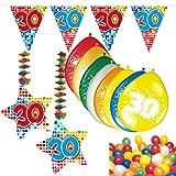Carpeta 54-teiliges Partydeko Set * Zahl 30 * für Mottoparty oder 30. Geburtstag mit Girlande, Rotorspiralen, Luftschlangen und vielen Luftballons Party Deko dreißig Jubiläum