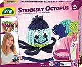 Lena 42684 - Strickset Octopus, Komplettset zum Stricken einer lustigen Krake mit Strickring, Metall Strickhaken, Nadel, Garn und Augen zum Aufnähen, Bastelset für Kinder ab 6 Jahre
