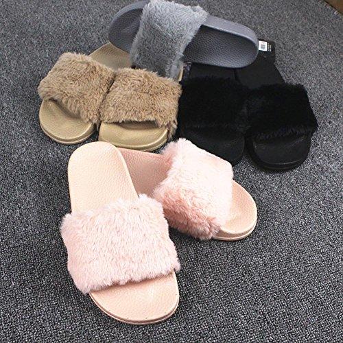 Peluche Invernali Delle Di Di Colore Donne Al Uomini Unisex Coperto F Nero Cotone Zampa Rosa Dours Pantofole Minetom Calde Pantofole Pistone zn5fS6wqg