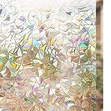 rabbitgoo 3D Fensterfolie Selbsthaftend Dekorfolie Sichtschutzfolie Statisch Haftend Anti-UV - 90cm*200cm - Regenbogenfarben Effekt Upgraded Version