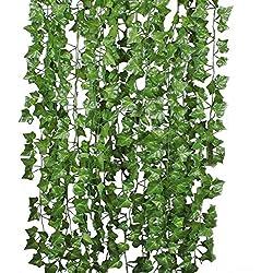 U'Artlines Lierre Artificielle Plantes Guirlande Vigne Lot de 24 (210cm chacun) Exterieur Lierre Artificielle Guirlande Décoration pour Célébration, Mariage, Cuisine, Jardin, Bureau(lot de 24)