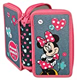 Scooli MIDS0430 Doppeldecker Schüleretui mit Stabilo Markenfüllung, Disney Minnie Mouse, 29 teilig