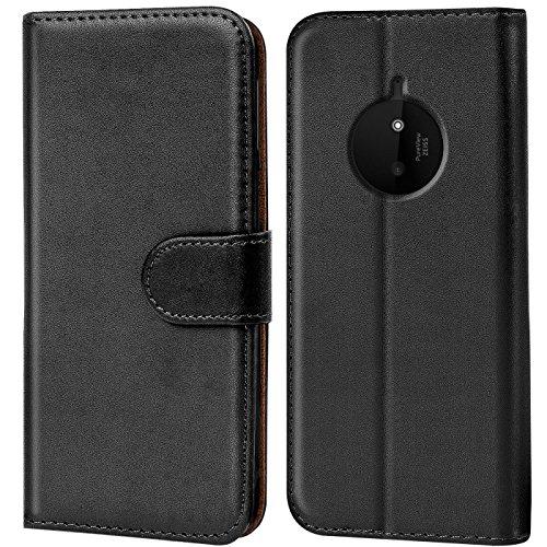 Verco Lumia 830 Hülle, Handyhülle für Nokia Lumia 830 Tasche PU Leder Flip Case Brieftasche - Schwarz