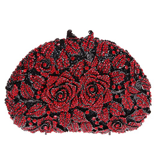 Bonjanvye Glitter Studded Rhinestone Rose Clutch Purse for Wedding Party Gold red