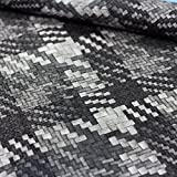 Kunstleder Lederimitat in Flechtopik grau - Meterware - Stoff zum nähen