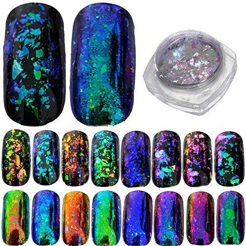 Decorazione per unghie in pagliuzze, effetto camaleonte, olografico, specchio, vetro rotto, paillette brillanti per nail art