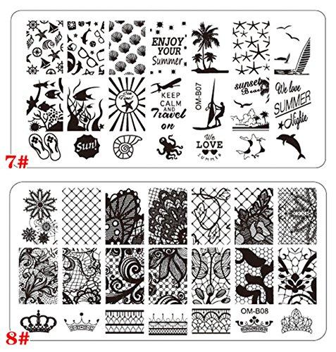 Aution House - Set Arte Stampe Lastre di Stampa da Unghie - Forma di Rettangolare/ Circle Piatto da Unghie Arte Bellazza - DIY Arte Unghie (C)