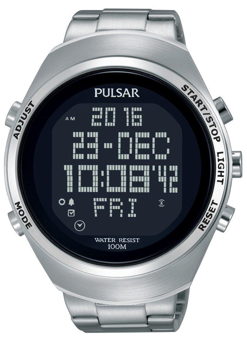 Pulsar Sport Herren-Uhr Chronograph Edelstahl mit Metallband PQ2055X1