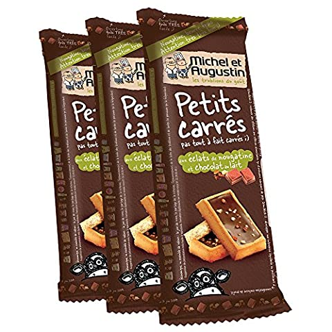Michel et Augustin Petits carrés pas tout à fait carrés aux éclats de nougatine et chocolat au lait 73g - Lot de 3