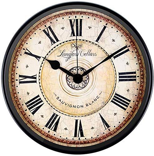 Justup Wanduhr, 30 cm Metall Wanduhr Europäischen Stil Retro Vintage Uhr Nicht Ticken Ruhig Batteriebetrieben mit HD Glas Leicht zu Lesen für Inneneinrichtung/Wohnzimmer/Küche/Schlafzimmer (Rom)
