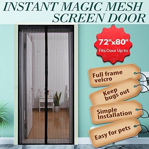 Surpass zanzariera magnetica, 182,9x 203,2cm (l x a), per porte finestre, porta scorrevole in vetro, porte veranda, mani libere, per zanzare e insetti, colore nero