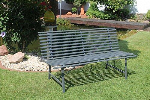 Beauty.Scouts Gartenbank 'Imperial' - in Anthrazit 150cm Stahl Sitzbank 2-3 Sitzer witterungsbeständig mit lehne stabil