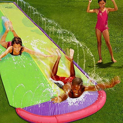 Sunnyushine Wasserrutsche Inflatables Für Kinder, Wasserrutsche Sommer Wasserspielzeug Outdoor Gras Wasserspray Rutschbahnen Surfbrett Garten Spielzeug