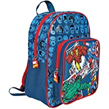 Mochila para niño Disney Marvel Comics - Bolso escolar con bolsillo frontal - Bolsa para la escuela y la guarderia con tirantes acolchados y regulables - Azul - 31x24x12 cm - Perletti