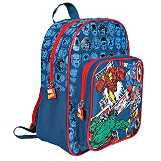 PERLETTI Mochila Infantil Marvel Los Vengadores Niño – Pequeño Bolso Escolar Avengers con Bolsillo Frontal de Capitán América Iron Man Spiderman y Hulk para la Escuela Guarderia – Azul – 31x24x12 cm
