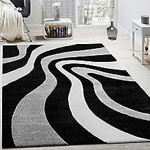 alfombra moderna saln velour corto diseo ondas blanco gris negro liquidacin