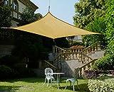 Cool Area 3x5m Rechteck Sonnensegel Sonnenschutz Segel, UV Schutz PES wasserabweisend für Balkon Terrasse Garten, Sandfarbe